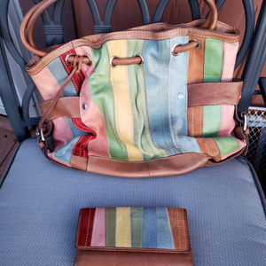 Fossil multi colored strips purse & wallet